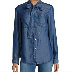 MICHAEL MICHAEL KORS Tie Collar Chambray Blouse
